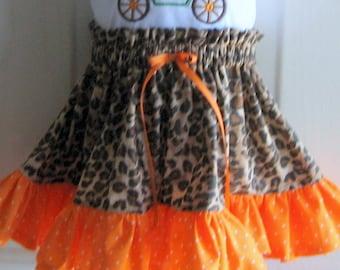 Little Girls Skirt Cheetah Print.  Girl's Animal Print Skirt.