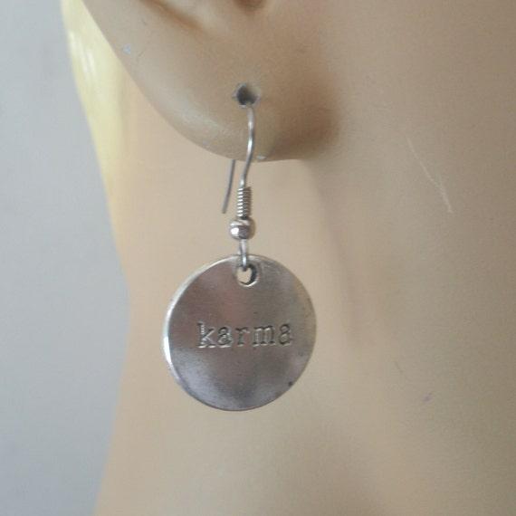 karma earrings karma charm earrings karma silver dangles