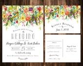 Bright Bohemian Wildflower Wedding Invitations; Printable OR set of 25