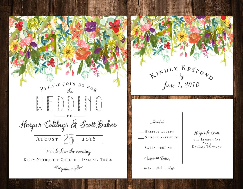 Bright Wedding Invitations: Bright Bohemian Wildflower Wedding Invitations Printable OR