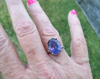 Custom Lab Alexandrite Ring size 6, 7, or 8