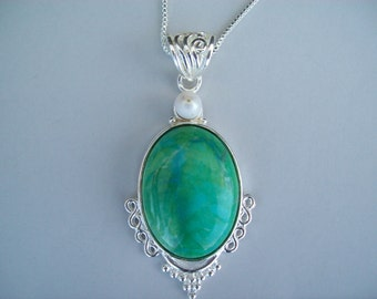Green Chrysocolla Pendant in Sterling Silver
