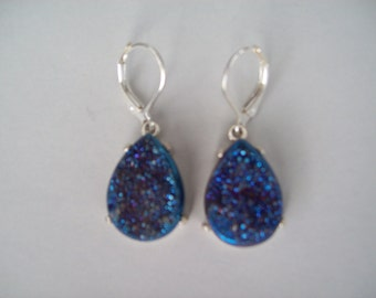 Blue Druzy Earrings in 925 Sterling Silver