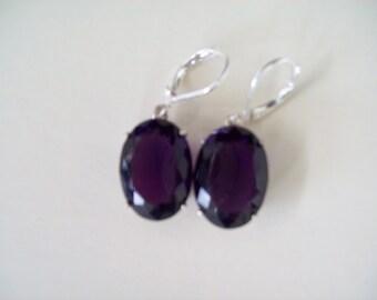 Sterling Silver Earrings - Grape Jam Purple