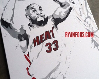Alonzo Mourning Stencil Painting