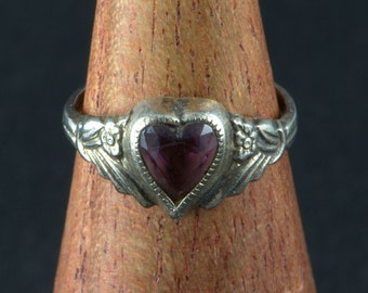 Tiny Sterling Ring Amethyst Heart Size 1 1/2  Signed Vintage