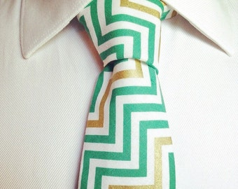 The Telford Tie in teal chevron