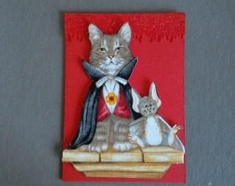 Handmade Fabric Vampire Vam-Purr and Bat Cat Halloween Card