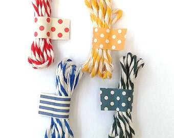Cotton Bakers Twine / 100% Cotton Striped String / Coloured Twisted Twine / Colored White Stripe String - Red / Yellow / Blue / Green