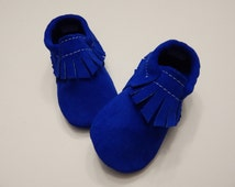 Suede Leather Royal Blue Baby/ Toddler  Moccasins