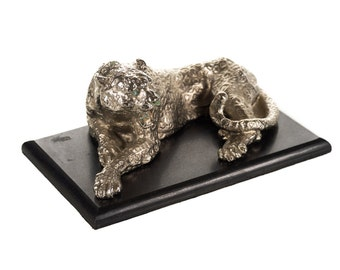 Silver Plated sculpture of a seated Leopard