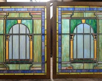 Tiffany c.1920s original Stained Glass Windows -Pair