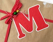 Red Letter Initial gift tags. Christmas Gift wrapping monograms. Embossed stars, snowflakes, dots, chevrons. Xmas gifts, birthdays. Red tags