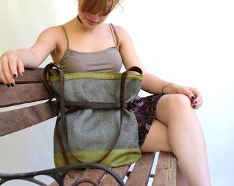 Crossbody Grey Bag \ Hip Bag Grey and Green \ Mikuya