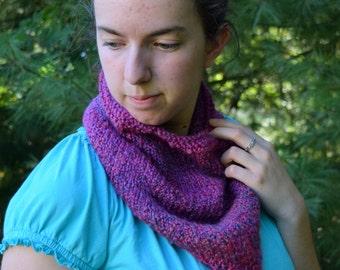Merlin Pink and Purple Bandana Cowl || Handknit Triangle Scarf