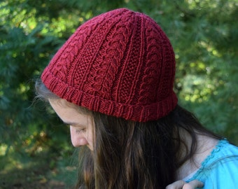 Red Wool Cabled Beanie || Handknit Hat
