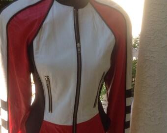 North Beach - Michael Hoban Biker Racing Leather Jacket Vintage 1980's