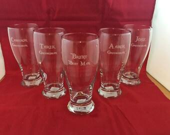 Wine 16 oz pilsner glass custom engraved