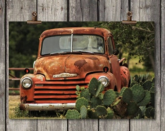Cactus Chevy - Vintage Red Chevrolet Pickup - Dripping Springs, TX - Fine Art Print - Canvas Gallery Wrap - Metal Print