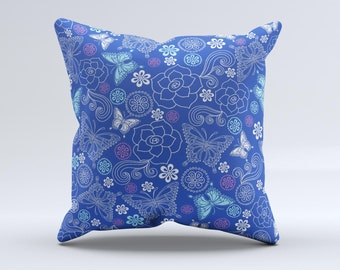 The Butterfly Blue Laced ink-Fuzed Decorative Throw Pillow