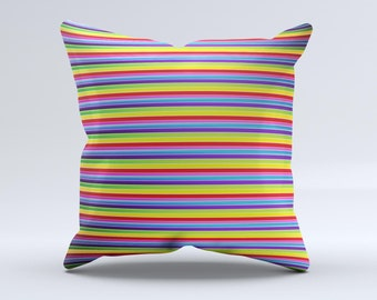 Horizontal Multicolored Stripes ink-Fuzed Decorative Throw Pillow