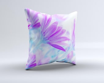 The Vibrant Blue & Purple Flower Field ink-Fuzed Decorative Throw Pillow