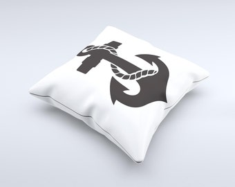 The Black Nautical Anchor  Pillow ink-Fuzed Decorative Throw Pillow