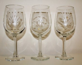 Personalized Nautical Wine Glasses - Beach Wine Glasses - Seashore - Hand Etched Glass - Mix and Match Choice of 25 Designs!