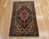 Persian Rug Vintage Oriental Rug 2' 8 x 4' 4 Ivory Blue Hamedan