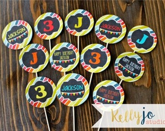 Bright Colors Little Gym Cupcake Toppers - Bounce House Birthday Party Circles - Run Jump Bounce and Play Party - Bright Color Party Circles