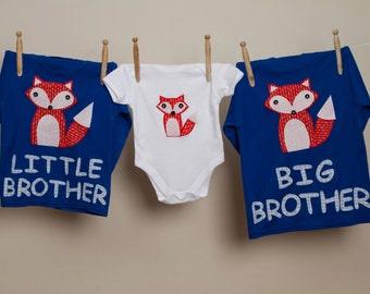 Big brother fox t shirt, Little brother fox shirt, Personalised boys fox t shirt, custom boys fox t shirt, sibling t shirt,  new baby gift