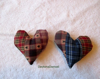 Rustic Quilted Heart, Primitive Heart, Bowl Filler, Cupboard Tuck, Fabric Ornament, Knob Hanger, Ornies, under 10 dollars