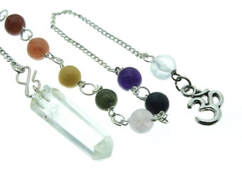 Crystal Quartz Natural Point Pendulum with Chakra Chain