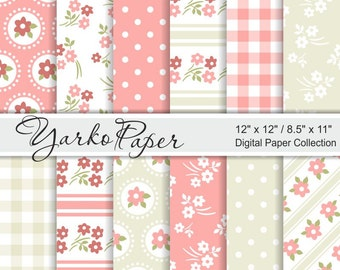 Shabby Chic Digital Paper Pack, Pink and Beige Floral Paper Set, Polka Dot, Scrapbook Digital Background, 12 Sheets - Instant Download