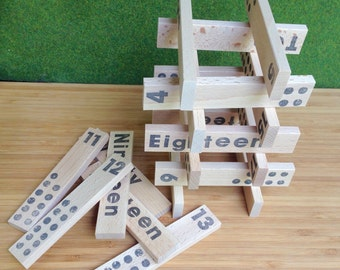 Wooden Number Planks - Educational Counting Blocks - building blocks in Tin Box