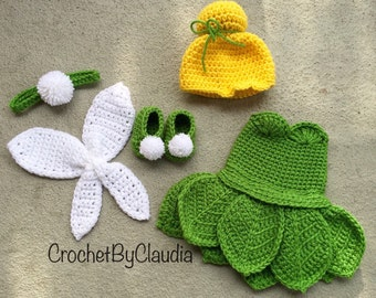 Crochet Tinker bell  Inspired Costume/ Tinker Bell / Photography Prop/Made To Order