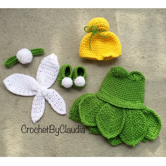 Easy Crochet Pattern For A Baby Hat : Crochet Tinker bell Inspired Costume/ Tinker Bell