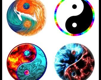 Yin-Yang - 30mm Bezels - Instant Download - Digital Download Sheet - Collage Sheet - 30mm Circles - DDP703