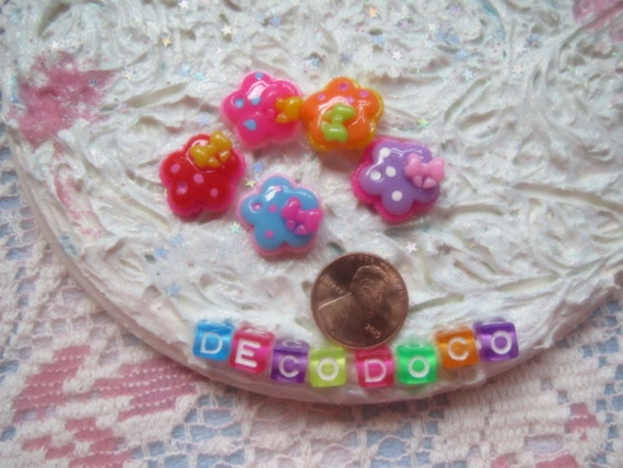 0: )- CABOCHON -( Rainbow Bow Flowers