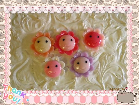 0: )- CABOCHON -( Rainbow Flower Daisy Head Smile