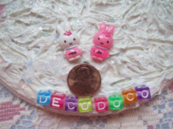0: )- CABOCHON -( Rainbow Bunny Rabbits with Crowns