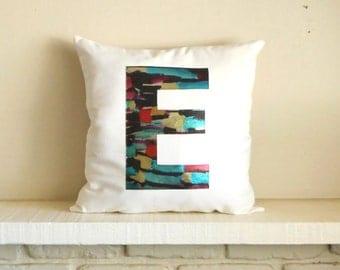 Metallic Monogram pillow - cover / Initial /Shiny letter / Personalized pillow / modern monogram / wedding gift / Custom letter pillow