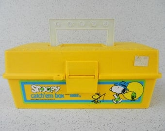 Zebco Snoopy Catch'em Box, Tackle Box, Fishing, Peanuts, Woodstock, Children, Kids
