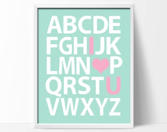 Baby Girl Nursery Art Print, Alphabet Nursery Art Print Suits Mint and Pink Nursery, Available in 4 Sizes - P126-Custom Color - Unframed