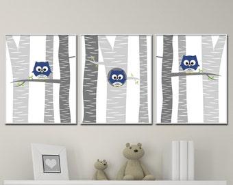 Baby Boy Owl Nursery Wall Art Print. Baby Boy Owls in a Tree. Suits Navy Blue and Grey Nursery. Baby Boy Nursery Decor - H172