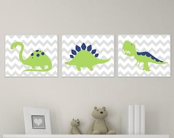 Dinosaur Nursery Art Print Chevron, Green and Navy Dinosaur Baby Art Print and Nursery Wall Art Prints Baby Boy Room Decor Set of 3 H139