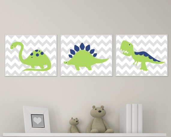 Dinosaur nursery art print chevron green and navy dinosaur - Boys room dinosaur decor ideas ...