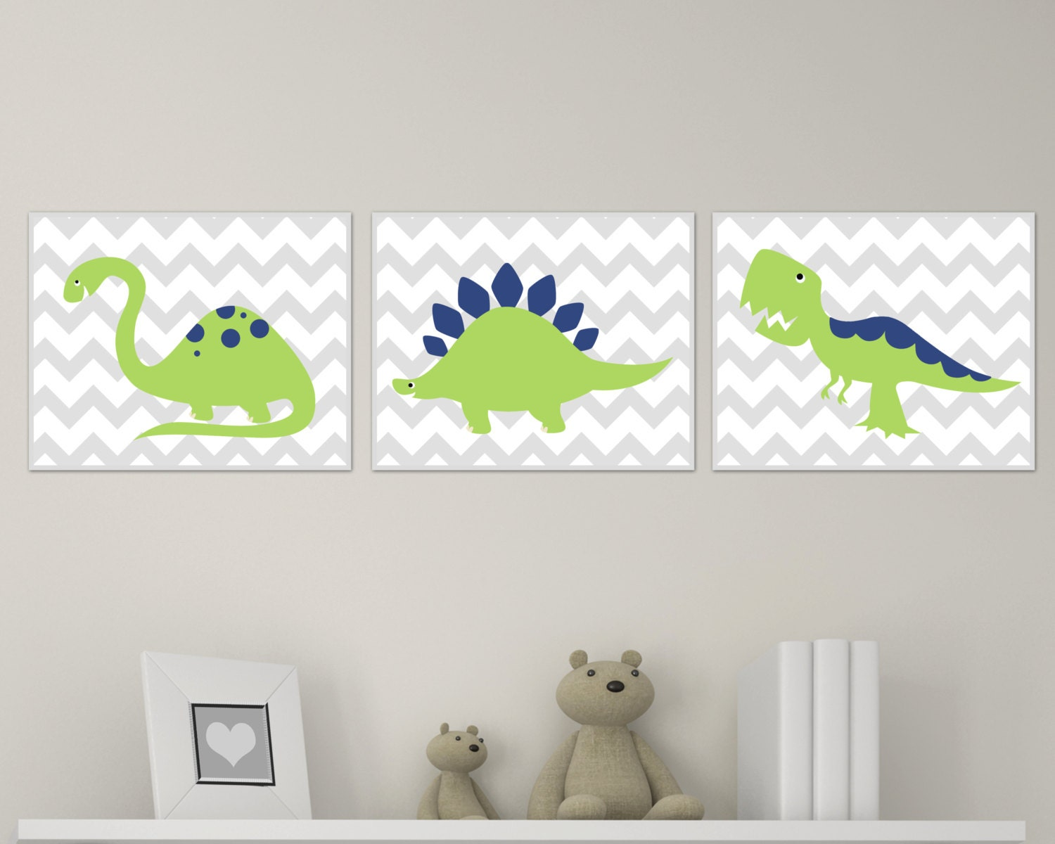 Dinosaur nursery art print chevron green and navy dinosaur for Dinosaur themed kids room