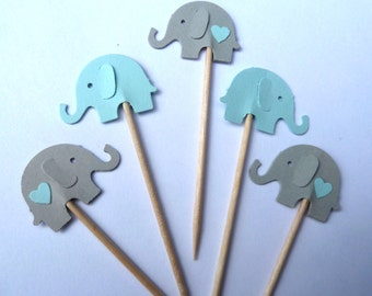 24 Elephant Cupcake Toppers, Blue and Gray, Boy Baby Shower, Gender Reveal, First Birthday, Food Picks, Ships in 3-5 Business Days