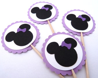 24 Minnie Mouse Cupcake Toppers, Purple Lavender, Girl Birthday, Baby Shower, Food Picks, Theme Party Picks, Ships in 3-5 Working Days